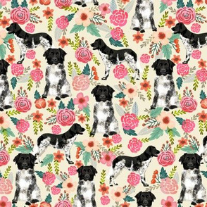 stabyhoun floral dog fabric florals and dogs design stabij design - cream