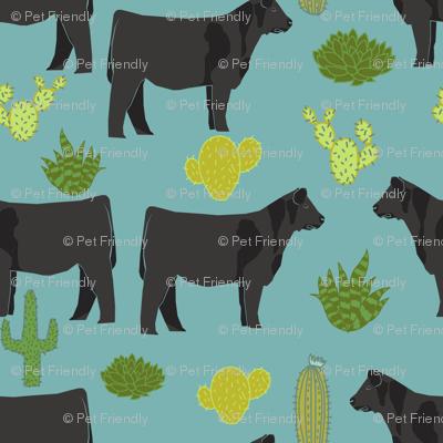 angus cattle fabric cattle cactus design - blue
