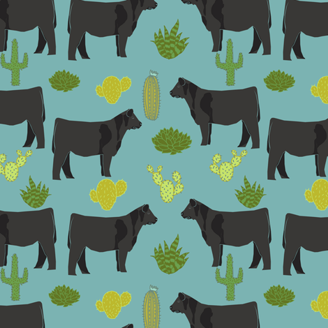 angus cattle fabric cattle cactus design - blue fabric by petfriendly on Spoonflower - custom fabric