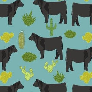 angus cattle fabric cattle cactus design - blue