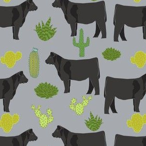 angus cattle fabric cattle cactus design - grey