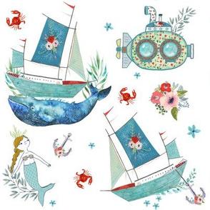 "8"" NAUTICAL FLORAL SHIP & MERMAID / WHITE"