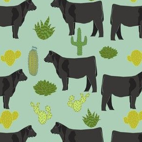 angus cattle fabric cattle cactus design - mint