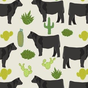 angus cattle fabric cattle cactus design - cream