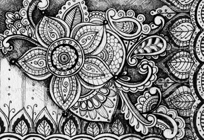 Black and White Mandala Floral Pattern