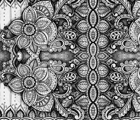 Black and White Mandala Floral Pattern fabric by rozine on Spoonflower - custom fabric
