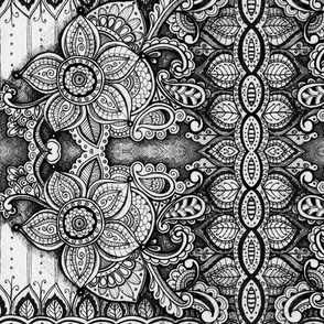 Black and White Mandala Floral Pattern