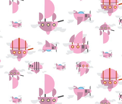 Pink - Airships fabric by the_wookiee_workshop on Spoonflower - custom fabric