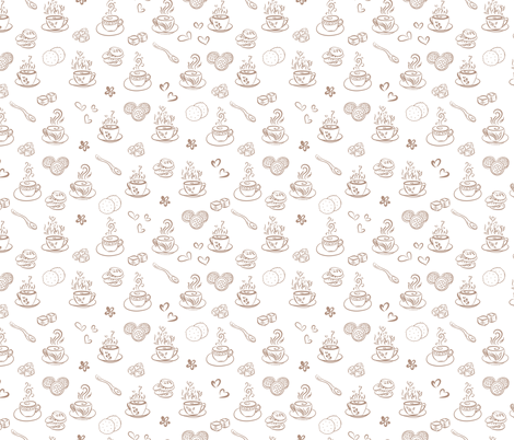 tea time / warm taupe on white fabric by alenushka on Spoonflower - custom fabric