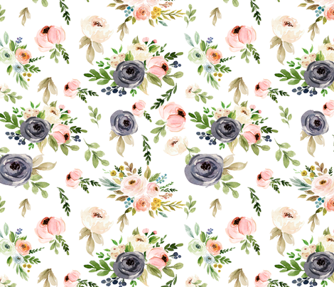 Watercolor Blush Pink and Greens fabric by hudsondesigncompany on Spoonflower - custom fabric