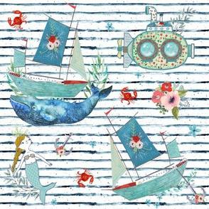 "8"" NAUTICAL FLORAL SHIP & MERMAID / SHIBORI STRIPES"