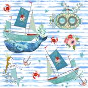 "8"" NAUTICAL FLORAL SHIP & MERMAID / WATERCOLOR BLUE STRIPES"