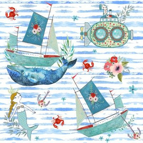 "8"" NAUTICAL FLORAL SHIP & MERMAID / WATERCOLOR BLUE STRIPES"