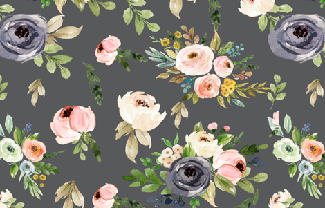 Grey Floral Blooms fabric by hudsondesigncompany on Spoonflower - custom fabric