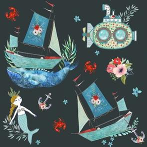 "8"" NAUTICAL FLORAL SHIP & MERMAID / CHARCOAL"