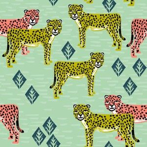 cheetah fabric // safari linocut design coral mint and chartreuse