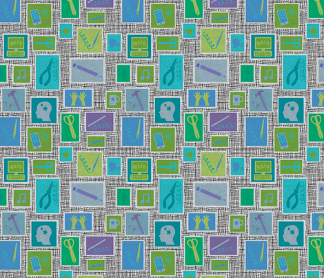 Handmade Stamps fabric by beckarahn on Spoonflower - custom fabric