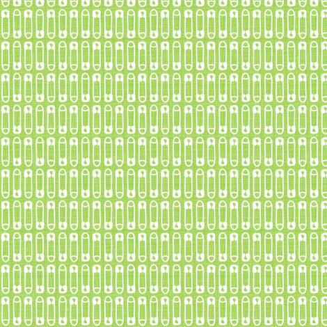 SafetyPinsGreen fabric by beckarahn on Spoonflower - custom fabric