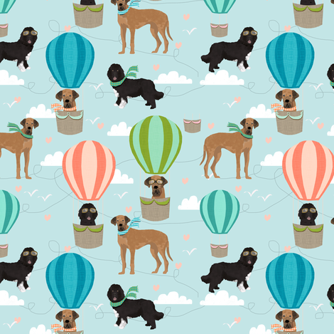 Custom design great dane and newfoundland hot air balloon fabric.   fabric by petfriendly on Spoonflower - custom fabric