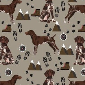 german shorthaired pointer dog fabric dogs and hiking design dog mountains fabric - med brown
