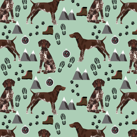 german shorthaired pointer dog fabric dogs and hiking design dog mountains fabric - mint fabric by petfriendly on Spoonflower - custom fabric