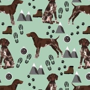 german shorthaired pointer dog fabric dogs and hiking design dog mountains fabric - mint