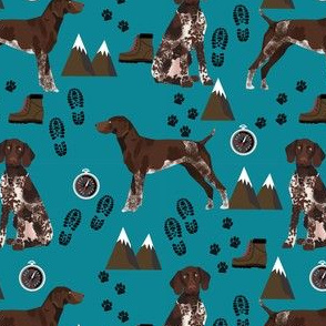 german shorthaired pointer dog fabric dogs and hiking design dog mountains fabric - teal
