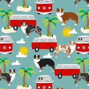 australian shepherd dog fabric dogs at the beach design aussie dog design - gulf blue