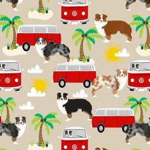 australian shepherd dog fabric dogs at the beach design aussie dog design - sand