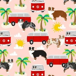 australian shepherd dog fabric dogs at the beach design aussie dog design - pink