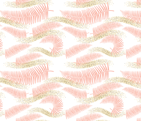 Summer Gold - Pink Ferns fabric by diane555 on Spoonflower - custom fabric