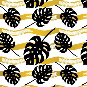 Summer Gold - Black Monstera Leaf