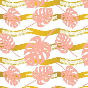 Summer Gold - Pink Monstera Leaf
