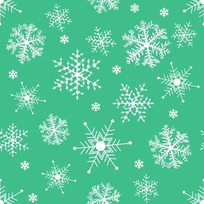 #SAGE Christmas Snowflakes on Green