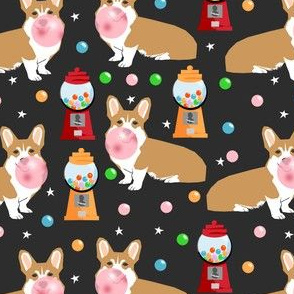 corgi bubblegum fabric dogs and gumball design - dark
