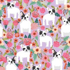frenchie florals fabric french bulldogs flower fabric lavender