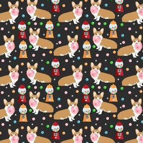 corgi bubblegum fabric dogs and gumball design - dark small size