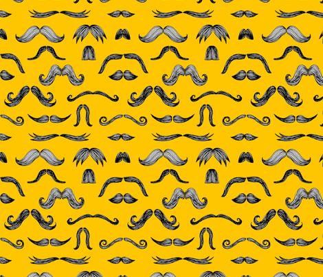 Mustachio (yellow) fabric by seesawboomerang on Spoonflower - custom fabric