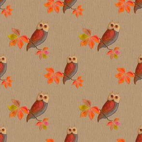 Friendly Owls on Beige