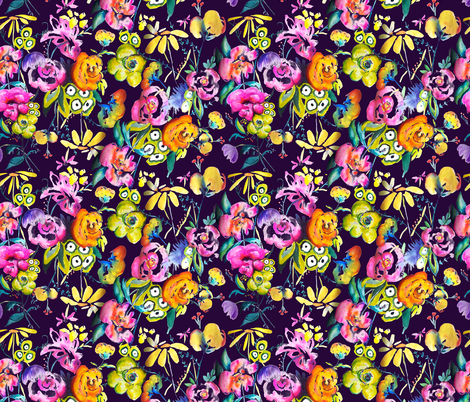 June Garden Floral //Eggplant  fabric by theartwerks on Spoonflower - custom fabric