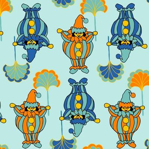 Short Clowns - Orange, Blue on Aqua