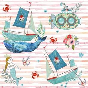 """8"""" NAUTICAL FLORAL SHIP & MERMAID / PINK & PEACH STRIPES"""