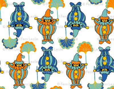 Short Clowns - Orange, Blue, White