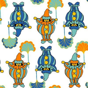Short Clowns - Orange, Blue, White