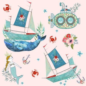 "8"" NAUTICAL FLORAL SHIP & MERMAID / PINK"