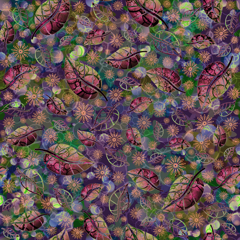 Tribal Leaves & Blossoms fabric by de_zigns on Spoonflower - custom fabric