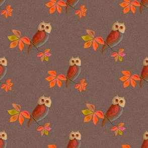 Friendly Owls with Biscuit Brown Background