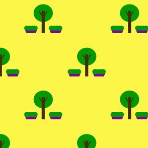 pastel city trees