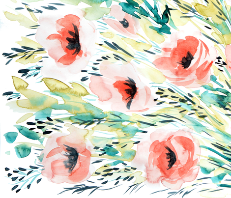 Poppies in the Meadow  fabric by rebecca_reck_art on Spoonflower - custom fabric