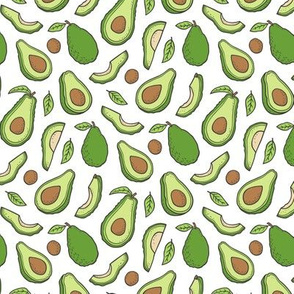 Avocado  Fabric on White Smaller